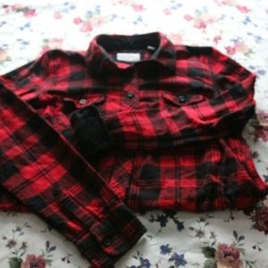 red & black flannel shirt